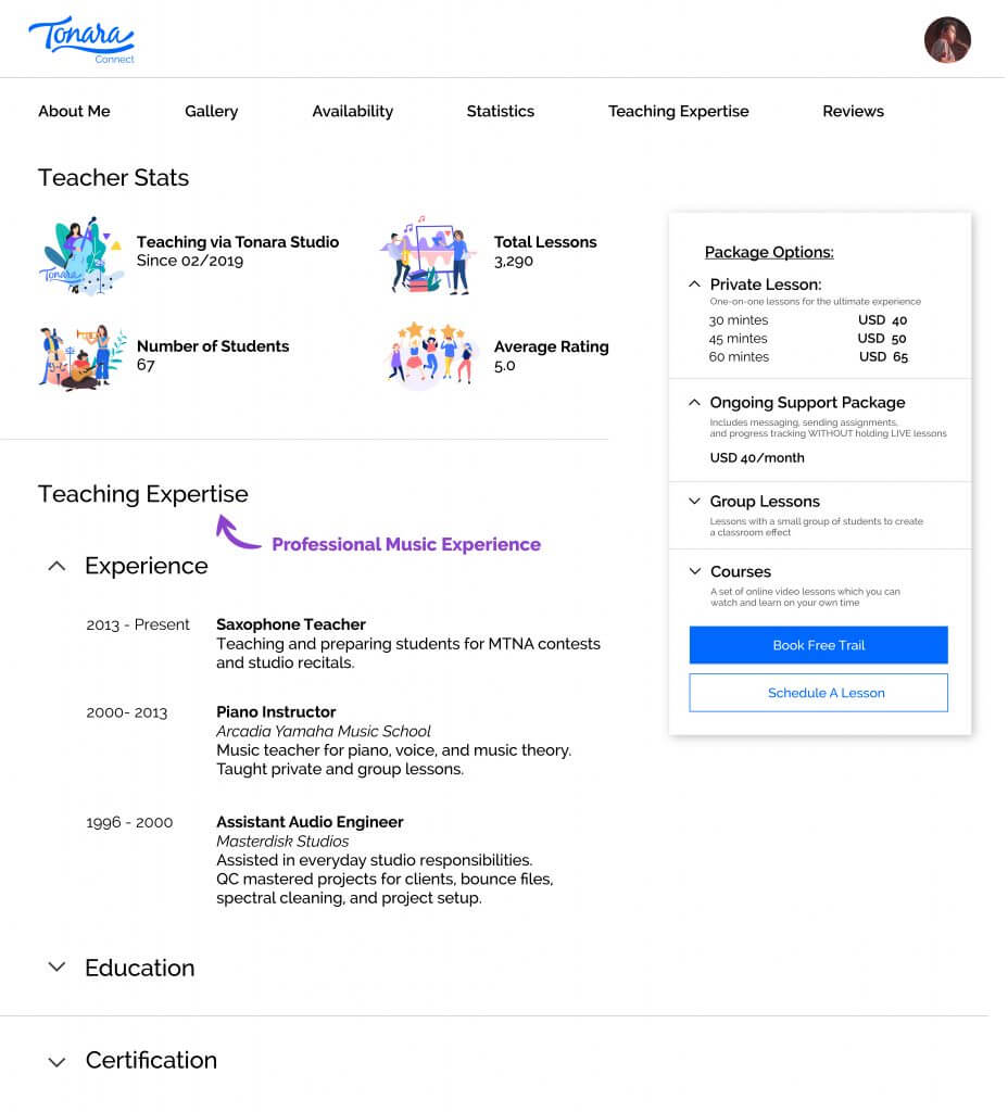 Tonara Connect Teacher Profile Page 3