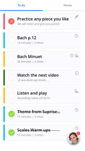 music practice app assignments list