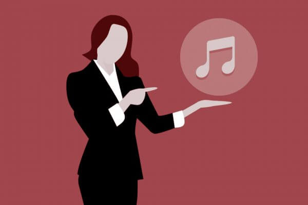 animation with woman showing music sign