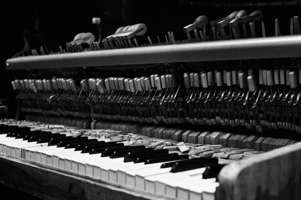 inside of old piano