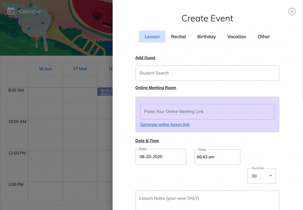 calendar, create lesson