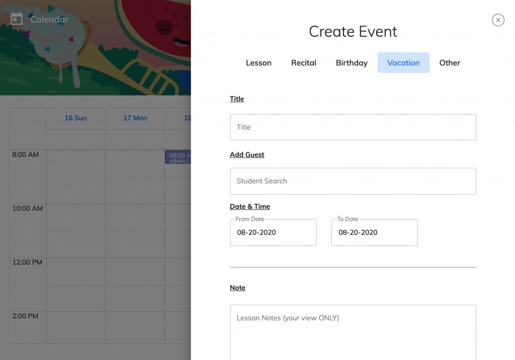 calendar, create vacation